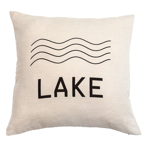 LAKE - 18x18in Throw Pillow - Cabin/Trailer Accent Pillow