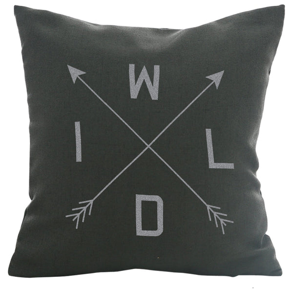 WILD - 18x18in Throw Pillow - Trendy Colors