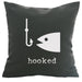 Hooked - 18x18in Throw Pillow - Cabin/Trailer Accent Pillow