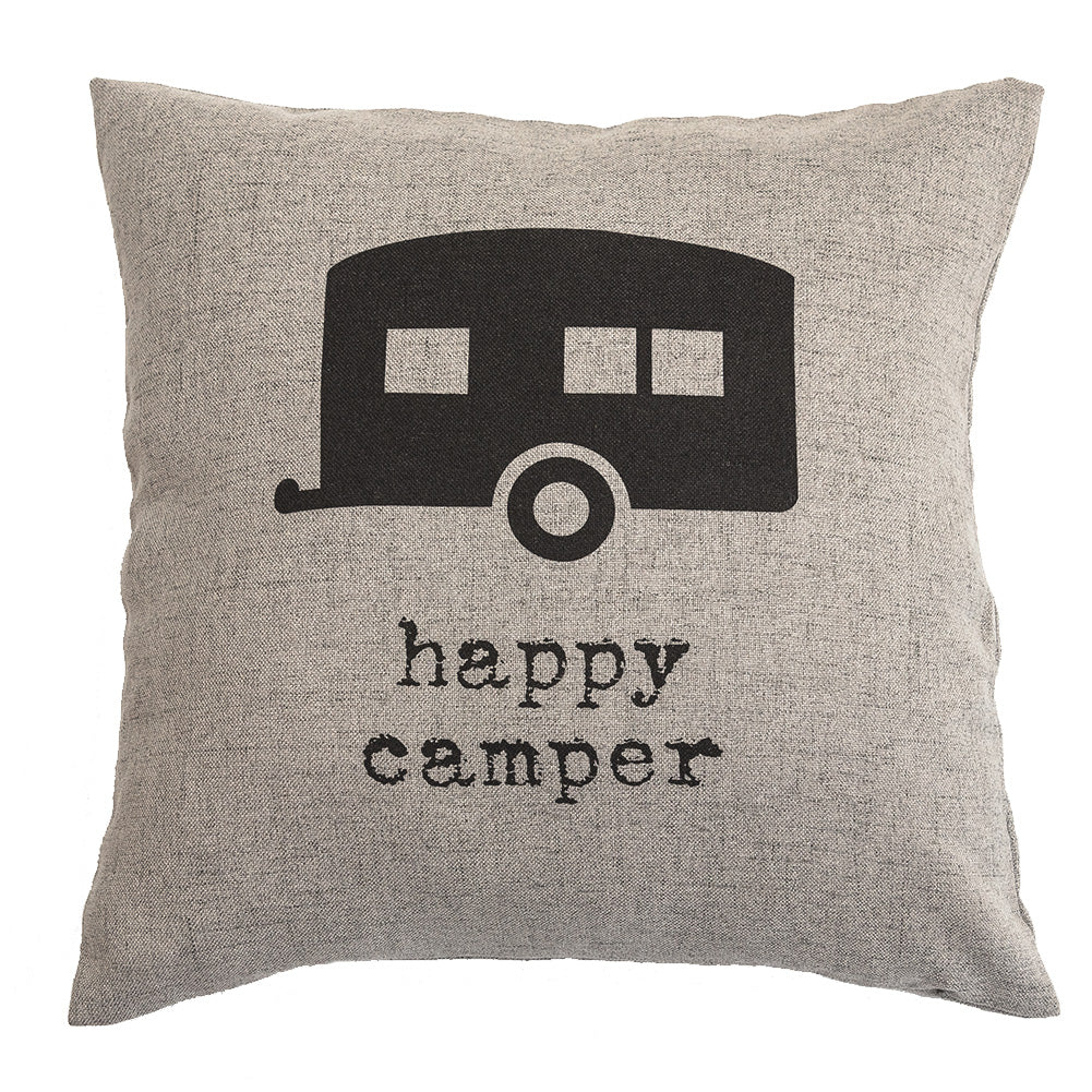 Happy Camper - 18x18in Throw Pillow - Cabin/Trailer Accent Pillow