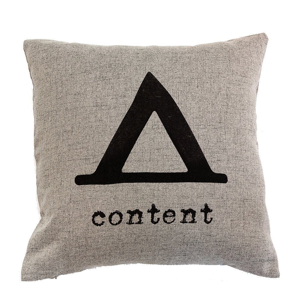 Content - 18x18in Throw Pillow - Cabin/Trailer Accent Pillow