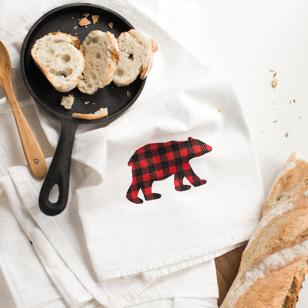 Buffalo Plaid Bear - Set of 4 Kitchen Towels - Flour Sack Towels