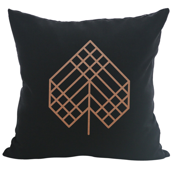 Poplar Leaf - 18x18in Throw Pillow - Copper Imprint