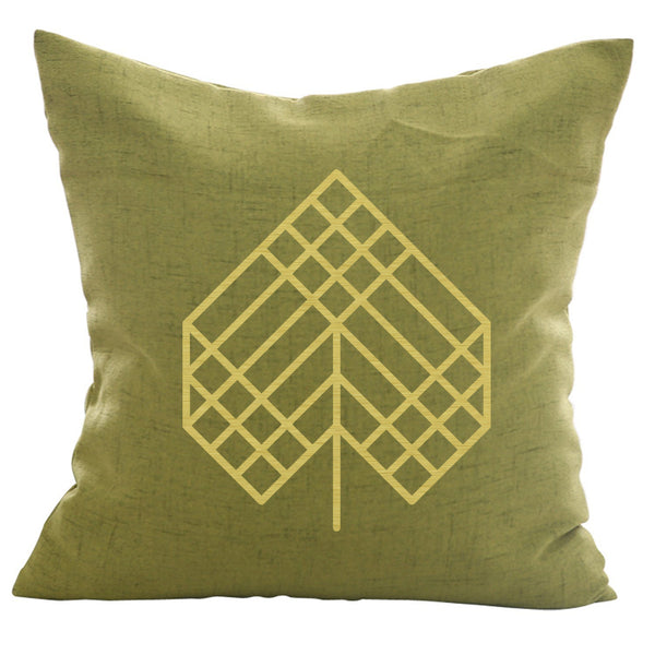 Poplar Leaf - 18x18in Throw Pillow - Gold Imprint
