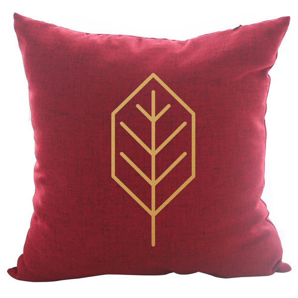 Beech Leaf - 18x18in Throw Pillow - Gold Imprint