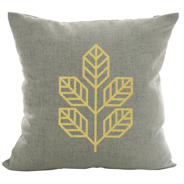 Walnut Leaf - 18x18in Throw Pillow - Gold Imprint