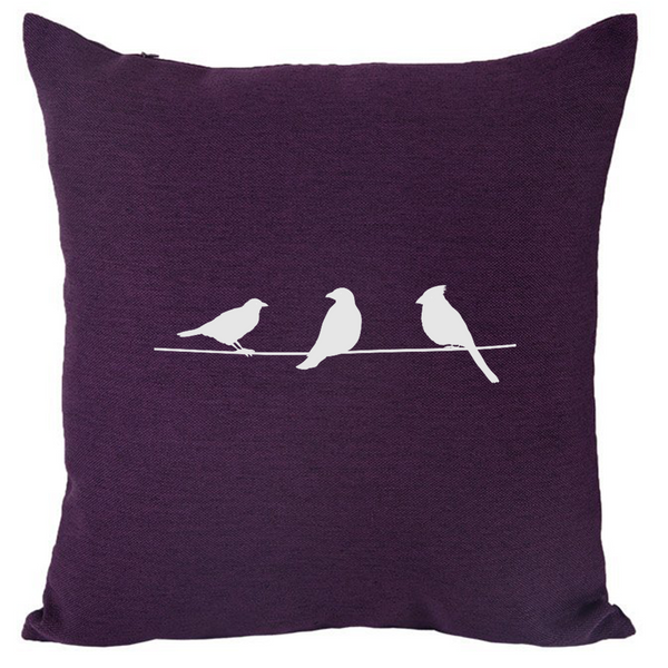 Three Birds (I) - 18x18in Throw Pillow - Trendy Colors