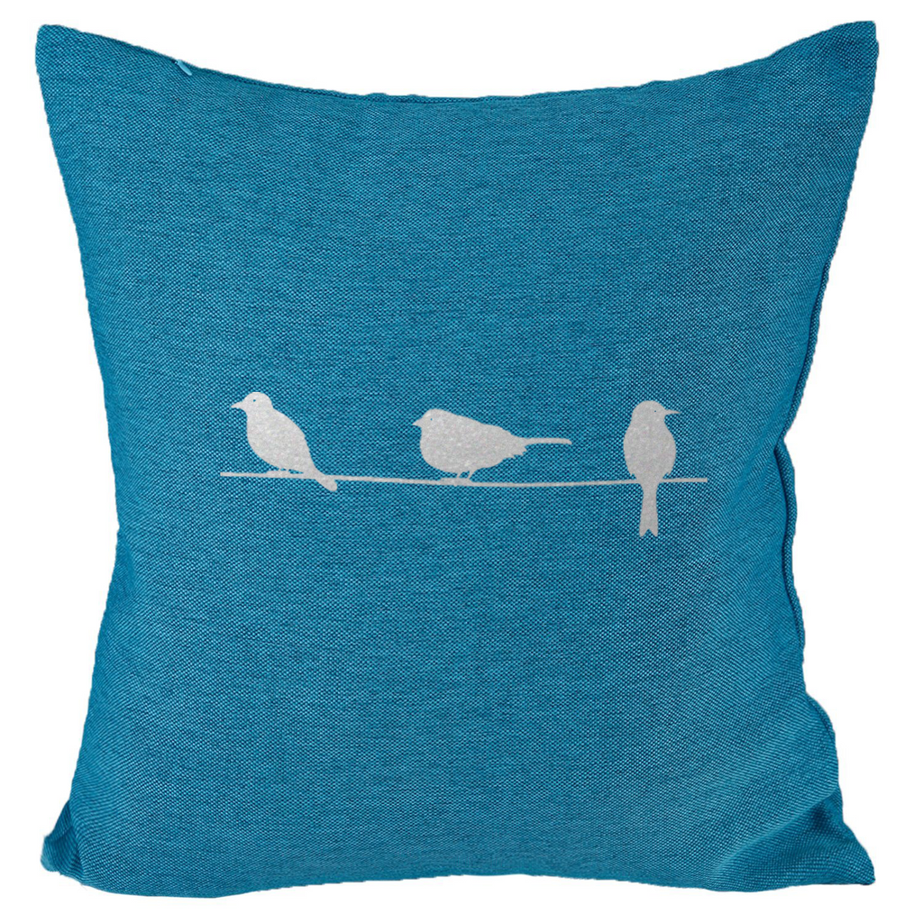 Three Birds (II) - 18x18in Throw Pillow - Metallic Silver Imprint