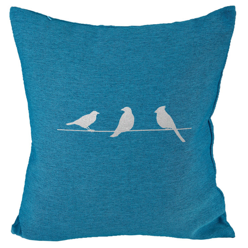 Three Birds (I) - 18x18in Throw Pillow - Metallic Silver Imprint