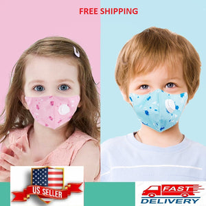 Child kids face mask with carbon Filter, reusable, washable fabric with Breathing Valve Respirator