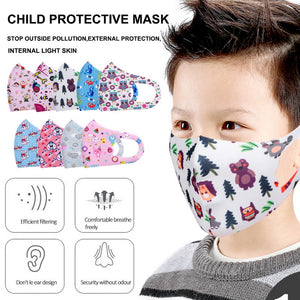 Kids Face Mask, Cartoon Design - Washable, Reusable, Anti Dust Mask