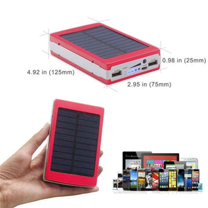 Solar Energy Charging, LED Light, Ikevan Dual USB Solar Energy Camping Flashlight Case Power Bank DIY Box Case (Rose Red) - powerbanks - Sky & Fly - Sky & Fly