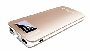 Uni-Yeap 11000mAh External Battery Charger Power Bank with Safety Charging Conversion System and Ultra Slim with Screen for iPhoneX 8 7 6s 6, iPad, Samsung Galaxy and All Smart phone(Gold) - powerbanks - Sky & Fly - Sky & Fly