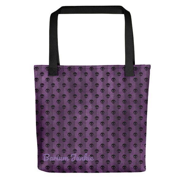 Black Skulls Tote bag (Purple Background)