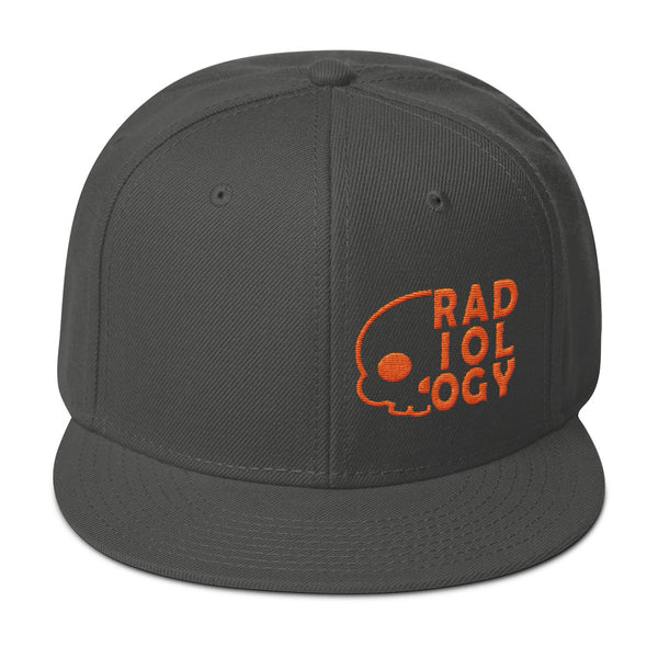 "Barium Junkie ""Radiology"" Charcoal Gray and Orange Snapback Hat"