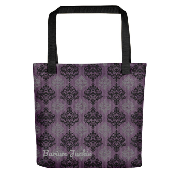 Black and Gray Skulls Gothic Tote bag (Purple Background)