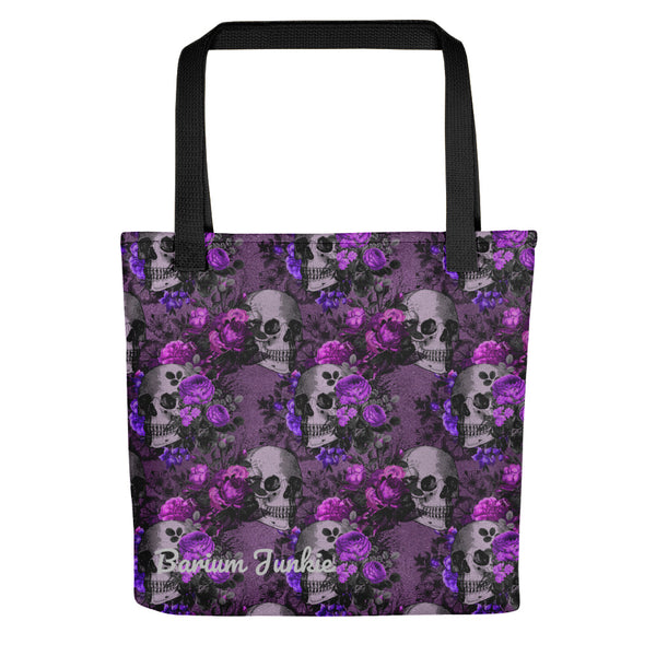 Skull and Flowers Gothic Tote bag (Purple Background)