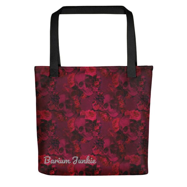 Skull and Flowers Gothic Tote bag (Red Background) #3