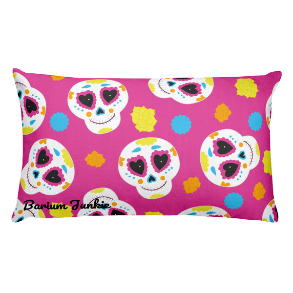 Sugar Skulls Rectangular Pillow (Pink) #2