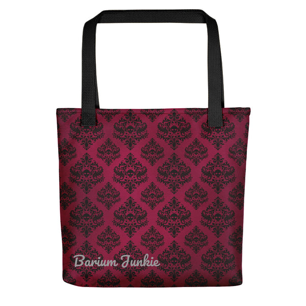 Black Skulls Gothic Tote bag (Red Background)