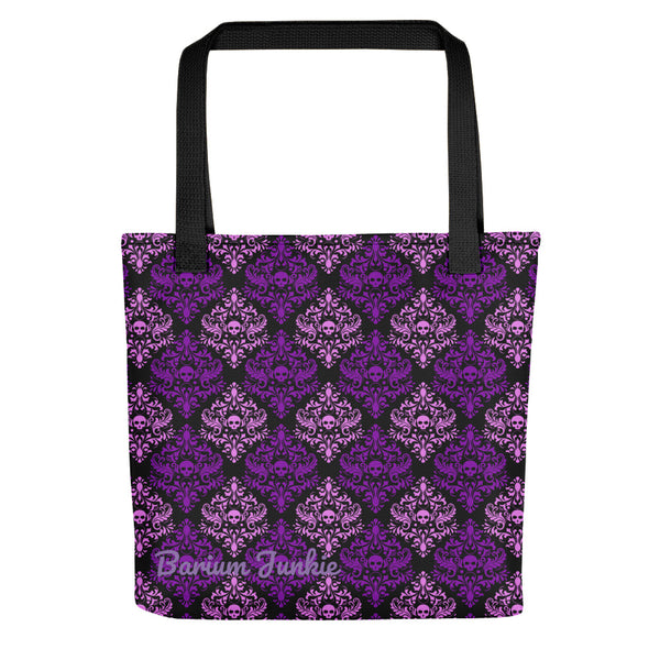 Purple Skulls Gothic Tote bag (Black Background)
