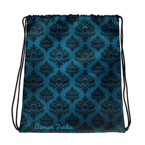 Blue Skull Gothic Drawstring bag