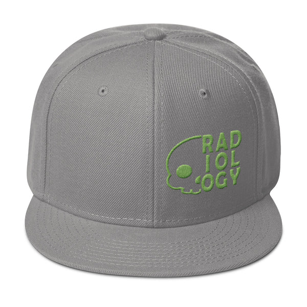 "Barium Junkie ""Radiology"" Gray and Green Snapback Hat"