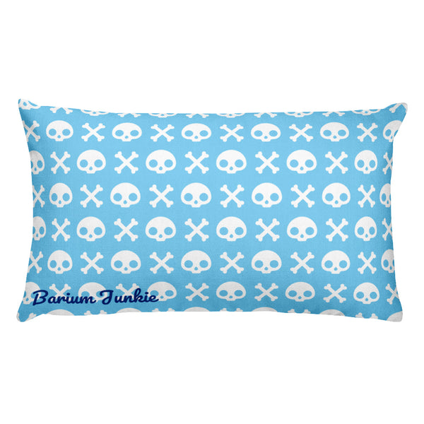 Skull & Crossbones Rectangular Pillow (Baby Blue)