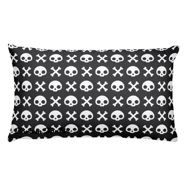 Skull & Crossbones Rectangular Pillow (Black)