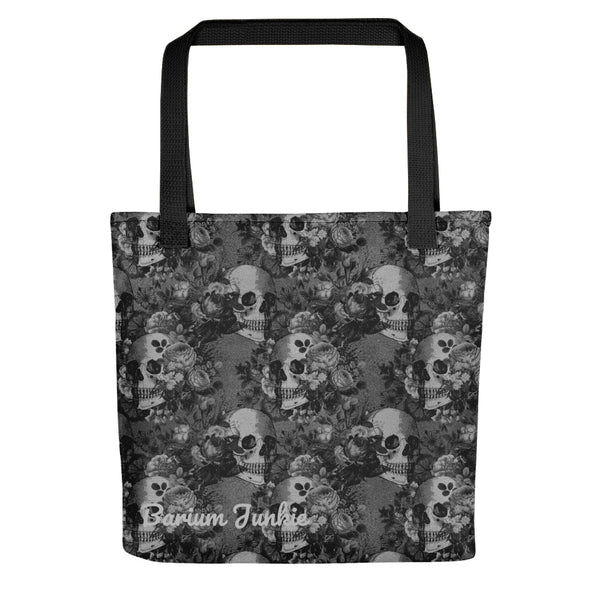 Gray Skulls and Flowers Gothic Tote bag
