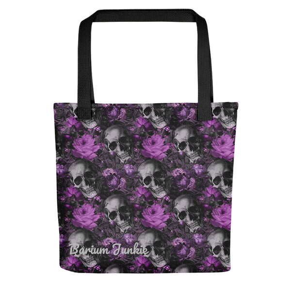 Skull and Flowers Tote bag (Black and Purple Background)