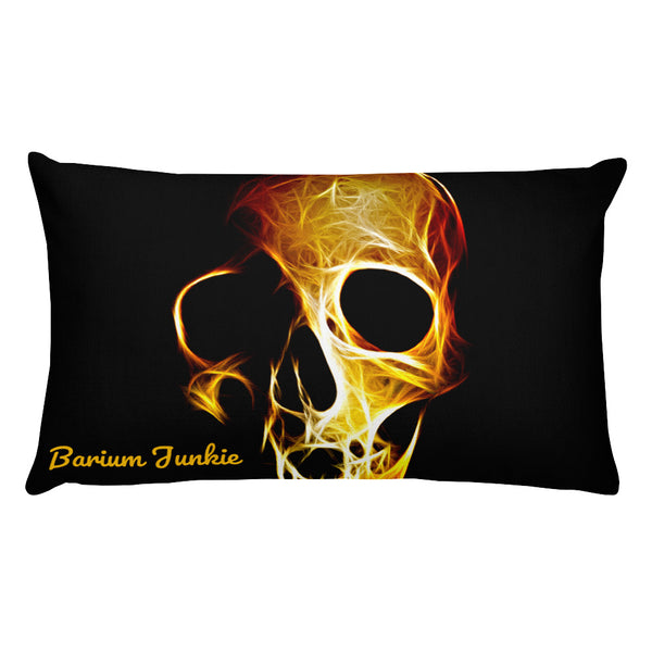 Flaming Skull Rectangular Pillow