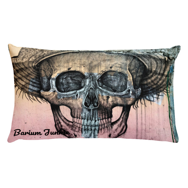 Straw Hat Skull Rectangular Pillow