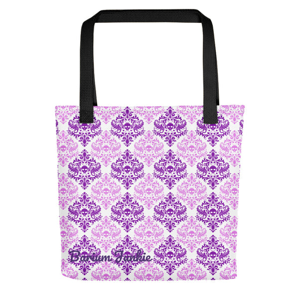 Purple Skulls Gothic Tote bag (White Background)