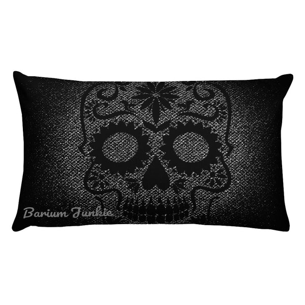Sugar Skull Rectangular Pillow (Black and Gray) #2