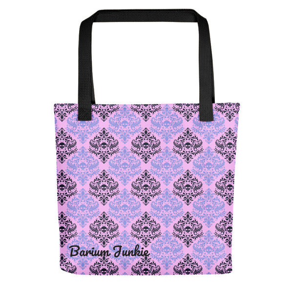 Black and Purple Skulls Gothic Tote bag (Pink Background)