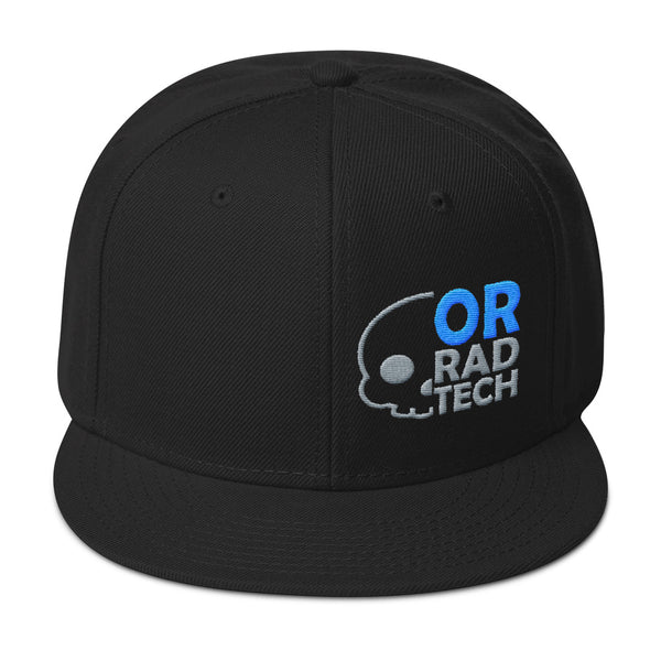 "Barium Junkie ""OR Rad Tech"" Black Blue and Gray Snapback Hat"