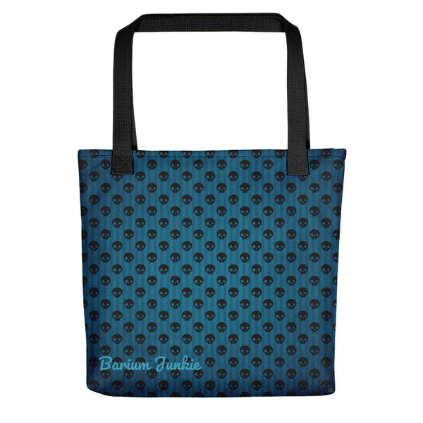 Black Skulls Tote bag (Blue Background)