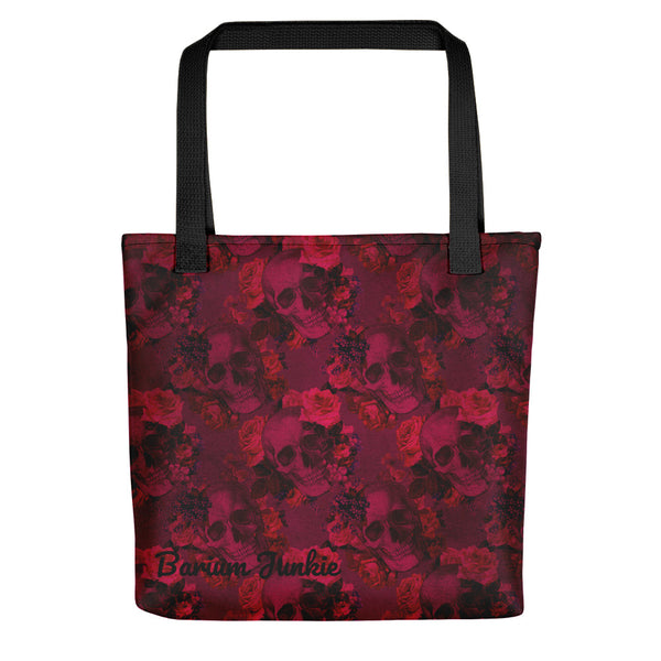 Skull and Flowers Gothic Tote bag (Red Background) #2