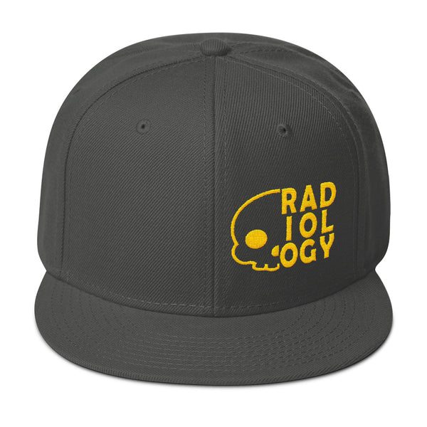 "Barium Junkie ""Radiology"" Charcoal Gray and Yellow Snapback Hat"
