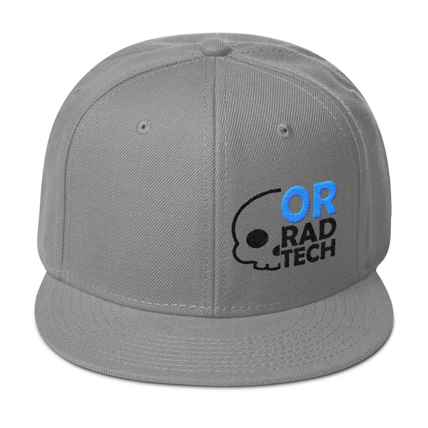 "Barium Junkie ""OR Rad Tech"" Gray Blue and Black Snapback Hat"