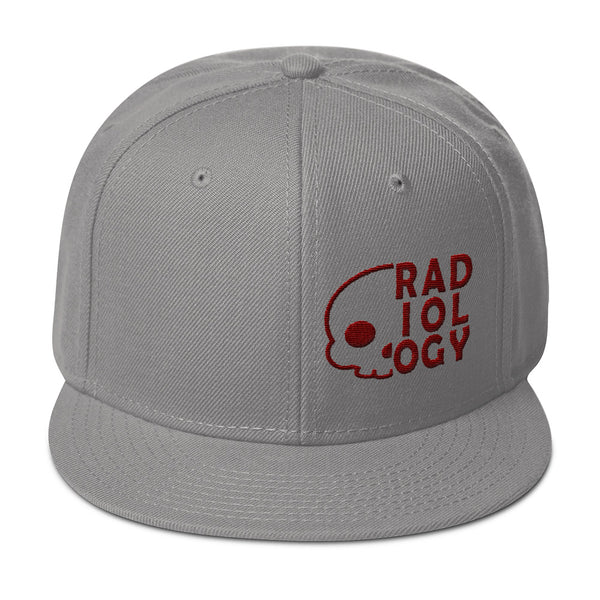 "Barium Junkie ""Radiology"" Gray and Maroon Snapback Hat"