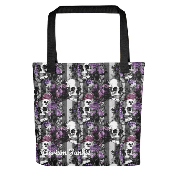 Skull and Flowers Gothic Tote bag (Black and White Background)