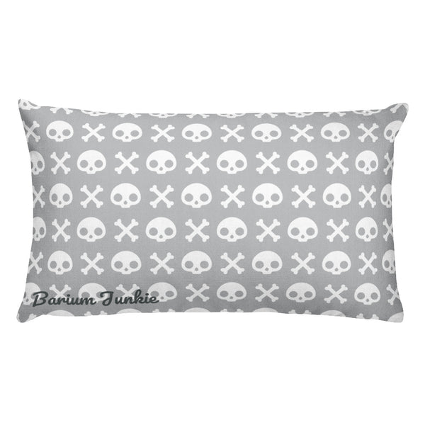 Skull & Crossbones Rectangular Pillow (Gray)