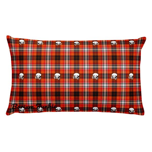 Plaid Skull Rectangular Pillow (Red and Black)