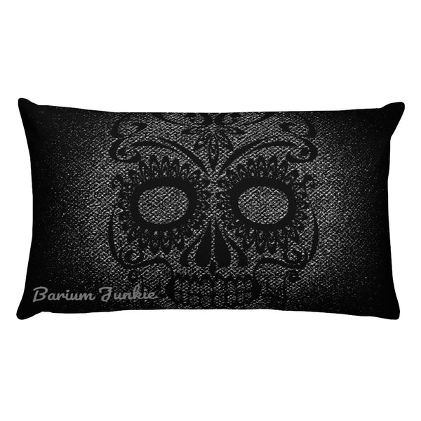 Sugar Skull Rectangular Pillow (Black and Gray) #1