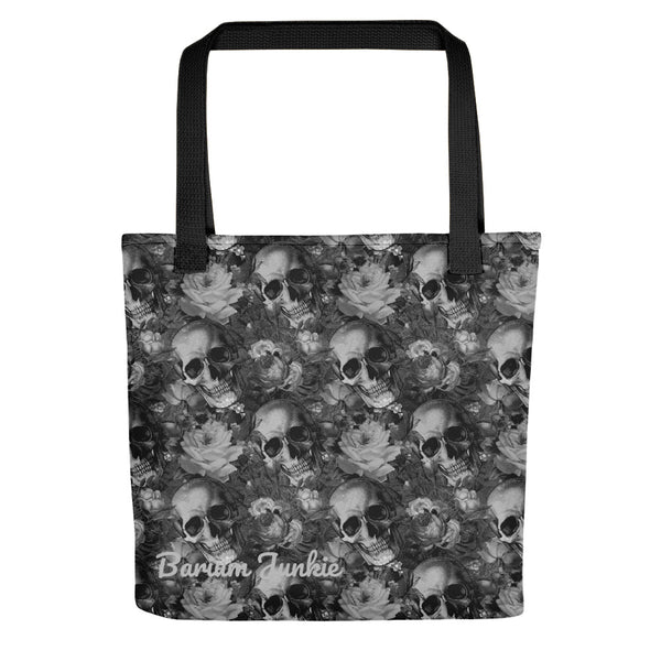 Gray Skulls and Flowers Tote bag