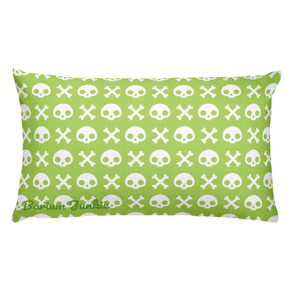 Skull & Crossbones Rectangular Pillow (Pea Green)