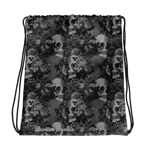 Black Skulls Gothic Drawstring bag