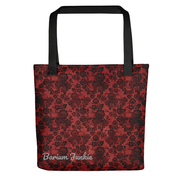 Skull and Flowers Gothic Tote bag (Red Background)